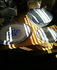 white and blue ceramic plate Augusta