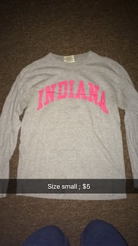 size small gray Indiana crew-neck long-sleeve t-shirt Colfax, 46035