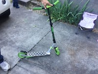 grey and green kick scooter