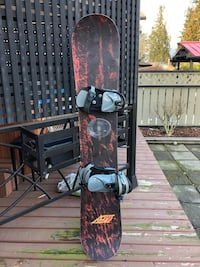 Black and red snowboard with bindings Port Coquitlam, V3C 4K4