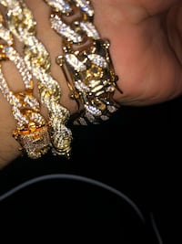 Miami Cubans , figaro , rope , tennis , franco fully iced out chain or bracelet set !! New York