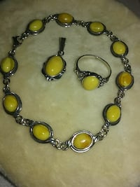 Yellow Jasper and Silver Set Sycamore