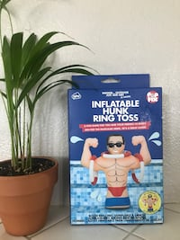White and red inflatable hunk ring toss box