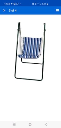 Algoma Net Swing Chair & Stand Set- Reversible chair pad, Blue/white