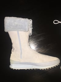Size 11 Adidas  light blue suede side-zip wide-calf boot has a small pen mark on one boot. Worn a few times only