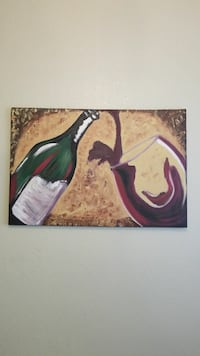 green wine bottle and wine glass painting Henderson, 89002