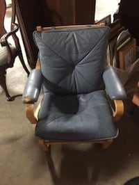 Blue Leather & Wood Side Chair