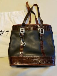 women's black and brown leather tote bag