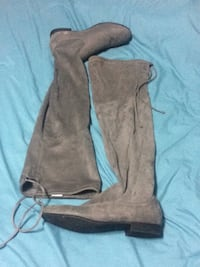 Size 7 grey suede talll kneee high boots with tie up Port Colborne, L3K 2W6