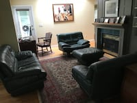 Green leather sofa set. GUC 4 pieces. (Chair shows true colour of set) Pet friendly, no smoking , downsizing, pick up north Langley 80 and 232 St. Langley, V1M 3R8