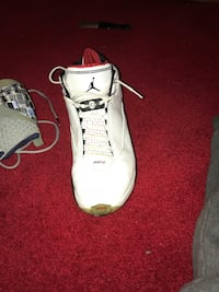 Pair of white air jordan basketball shoes Lafayette, 70501