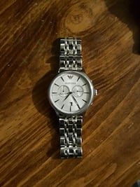 round Emporio Armani chronograph watch with silver link Kingston, K7P 3J9
