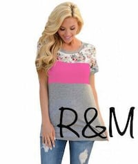 New pink stripe boutique tops. Several sizes available. S, L, and XL