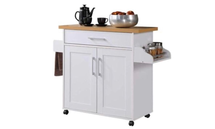 Photo New, Hodedah Kitchen Island with Spice Rack, Towel Rack & Drawer, Whi