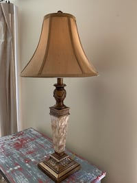 "Lovely lamp with shade. Interesting base. Measures 27"" tall   Potomac, 20854"