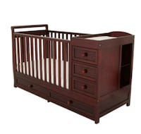 brown wooden crib with changing table Long Beach, 90813