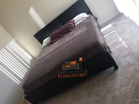 Brand new queen size platform bed frame with mattress