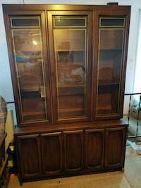 China/ display cabinet brown wooden framed glass