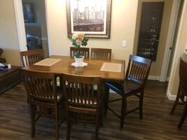 Wood Dining table with six chairs