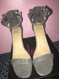 Pair of gray open-toe ankle strap heels Detroit, 48219