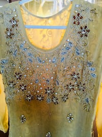 Golden with champagne jewels traditional stiched new dress