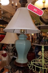 teal ceramic base with white lampshade 732 mi