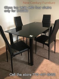 NEW 5 pcs dining table set BLACK Norcross