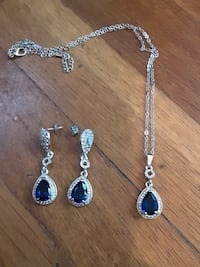 Complete necklace set comes with ring ,blue sapphire