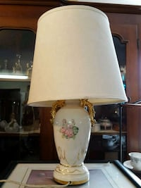 white ceramic base white shade table lamp