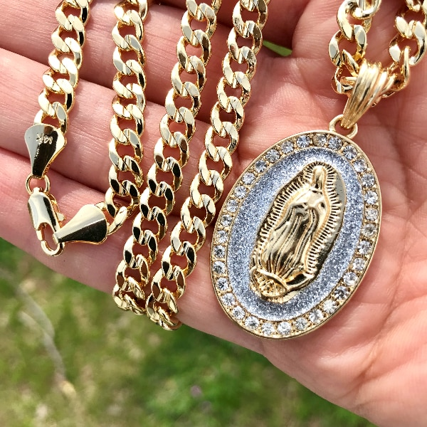 """H New 14k Gold Plated Cuban Link Chain Necklace with Pendant 30"""""""