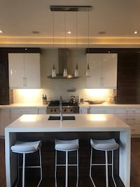 white and black wooden kitchen cabinet Toronto, M5P 1S7
