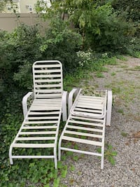 two white metal lounge chairs Oceanside, 11572