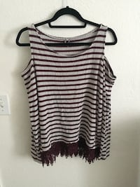 white and black stripe tank top Makaha Valley, 96792