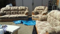 brown and gray floral fabric sofa set Exeter, 93221
