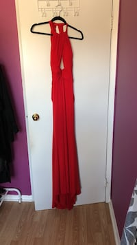 Women's red sleeveless halter maxi dress Hamilton, L9B