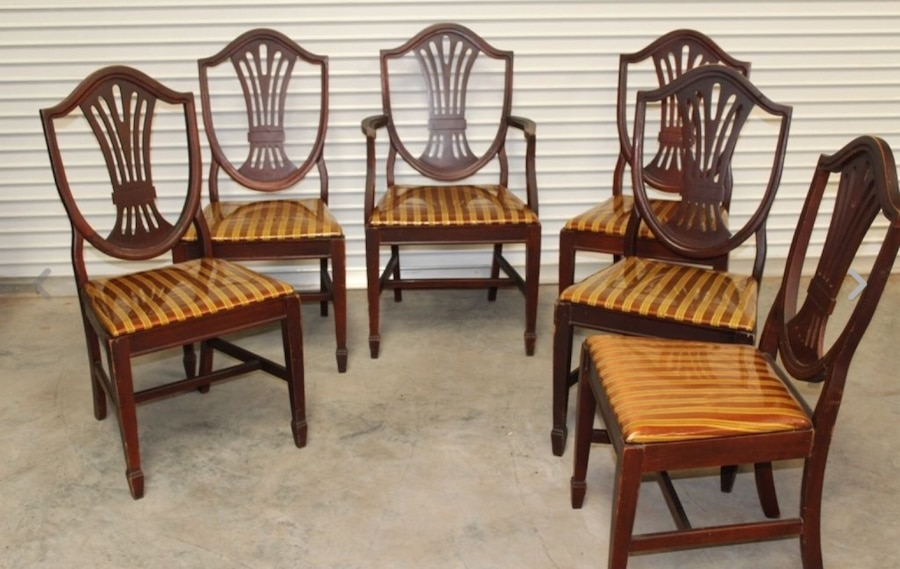 letgo 6 Wood Cane Back Chairs Made in Saint Andrews SC