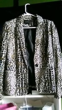 black and white leopard print cardigan Broussard, 70518
