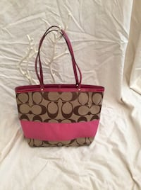 Coach Signature Brown & Pink Canvas Tote! Greenwood, 46142