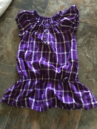 purple and white plaid puff-sleeved blouse Calgary, T3G 1S4