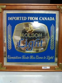 Molson Light Mirrored Beer Signd Canton