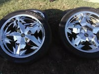 four chrome 5-spoke car wheels with tires Catoosa, 74015