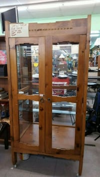 brown wooden framed glass display cabinet Moriarty, 87035