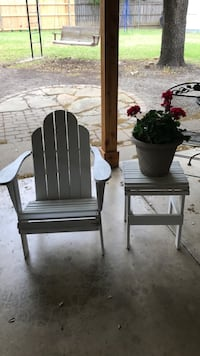 White wooden armchair and table