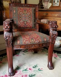 """Replica Medieval Gothic Hand Carved Solid Mahogany 36.5"""" Armchair Lakewood"""