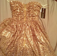 Knee-length gold Betsey Adam sequined dress - Size 4 Chapin, 29036