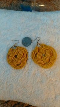 Large yellow Earrings made from Tiny yellow beads New Castle, 47362