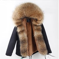 Winter Parka With Real Raccoon Fur Size L Black Toronto
