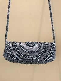 Black and grey sequined evening bag
