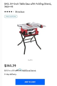 Table saw with folding table