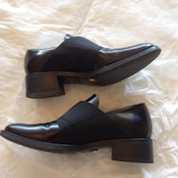 Women's Black Leather Heel Loafer size: 7 in Very Good Condition $75